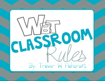 Whole Brain Teaching Rules - Turquoise/Grey Chevron