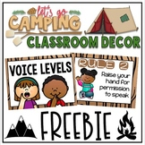 Whole Brain Teaching Rules and Voice Levels FREEBIE in a Camping Decor Theme