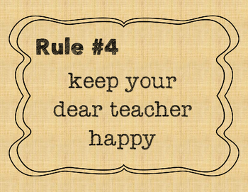 Whole Brain Teaching Rules for a Student-led class burlap background