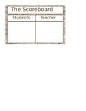 Whole Brain Teaching Scoreboard-Rustic Wood Theme Teachers Vs Students
