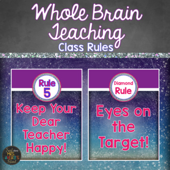 Whole Brain Teaching Space Themed Classroom Rule Posters