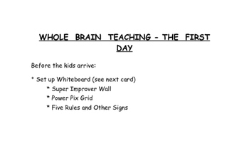 Whole Brain Teaching - The First Day Cards