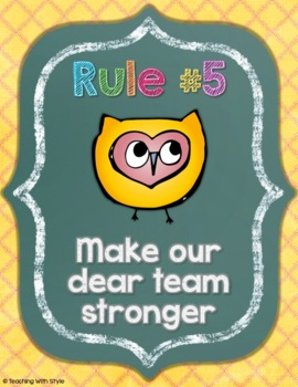 Whole Brain Teaching Owls on Chalkboard Rules & Responses {WBT FREEBIE}