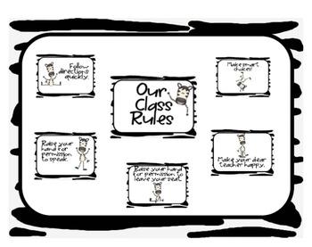Whole-Brain Teaching Zebra Classroom Rules Posters