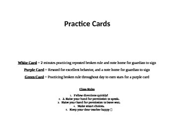 Whole Brain Teaching practice card sign