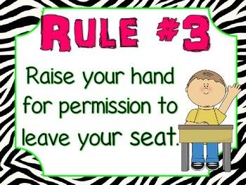 Whole Brain Teaching rules posters zebra print