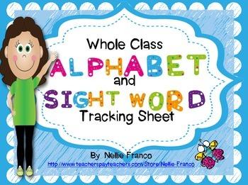 Whole Class Alphabet & Sight Word Tracking Sheet