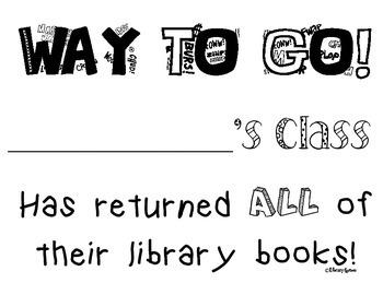 Whole Class Book Return Certificate