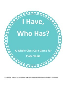 Whole Class Card Game for Place Value