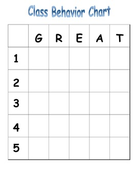 "Whole Class ""GREAT"" Behavior Grid!"