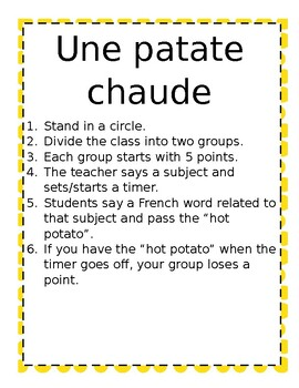 Whole Class Group Games Core French or French Immersion