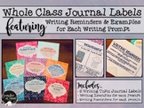 Whole Class Journal Labels with Writing Examples and Reminders