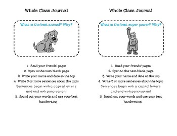 Whole Class Journal Prompts