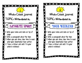 Whole Class Journal Topics