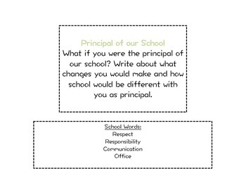 Whole Class Journal Writing Prompts PRINTABLE!