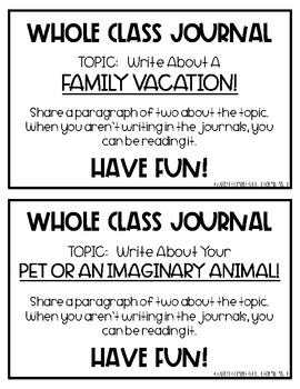 Whole Class Journals FREEBIE!