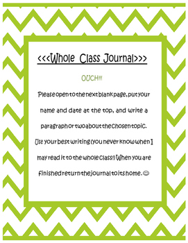 Whole Class Journals - interactive - notebook - daily five - writing