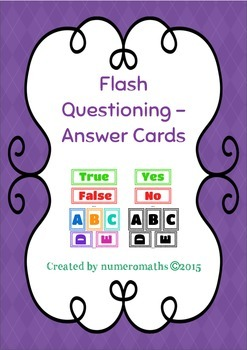 Whole Class Questioning - Answer Cards (Various)