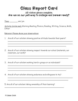 Whole Class Report Card - visitors (Admin/Staff/Parents) complete upon visit