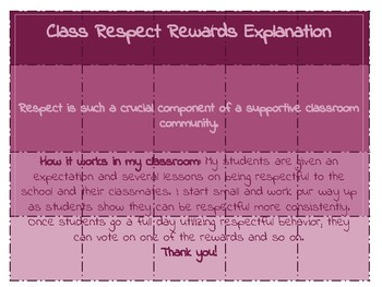 Whole Class Respect Reward Ideas