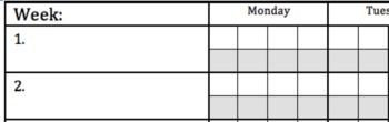 Whole Class Weekly Behavior Chart