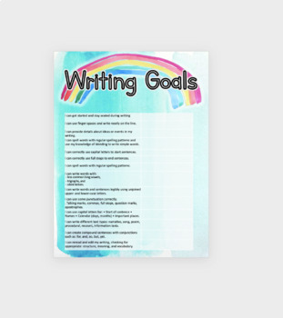 Whole Class Writing Goals Poster