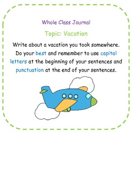 Whole Class Writing Journal