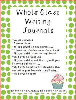 Whole Class Writing Journal Topics