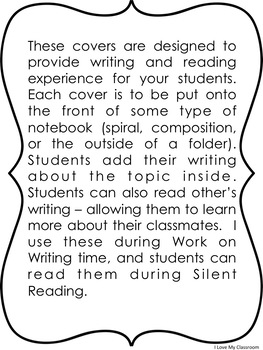 Whole Class Writing Journals Set 2 {25 covers}