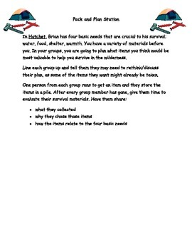 Whole Day Cross Curricular Hatchet Activites