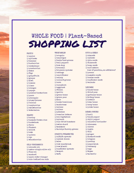 Whole Food, Plant-Based Shopping List