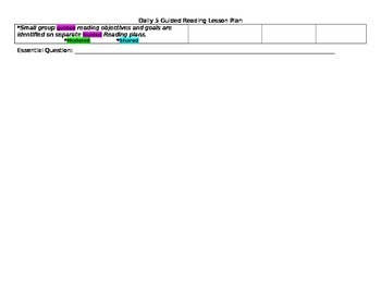 Whole Group (Daily 5) Lesson Plan Template
