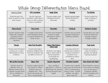 Whole Group Differentiation Ideas