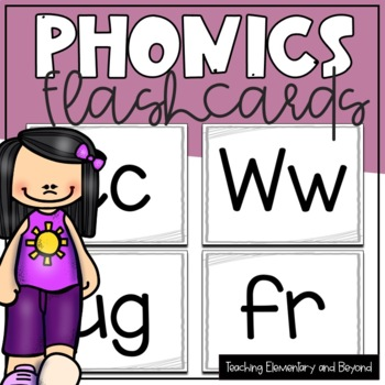 Full Page Whole Group Flash Cards with Letters, Sounds, Word Families and Blends