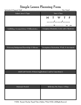 Simple Lesson Planning Form