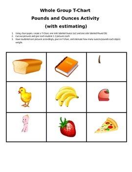 Whole Group Measurement Sort (Pounds and Ounces)