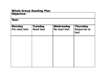 Whole Group Reading Lesson Template