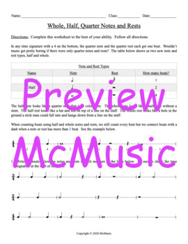 Whole, Half, Quarter Notes and Rests