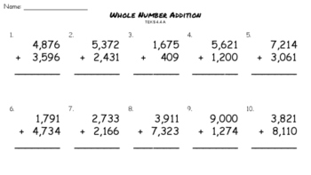 Whole Number Addition - 4 digit