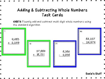 Whole Number Addition & Subtraction- Task Cards!