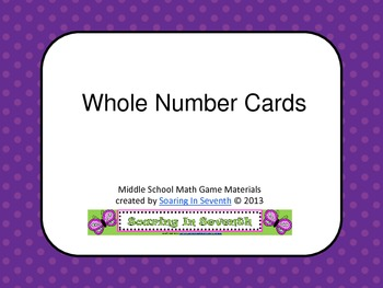 Whole Number Cards