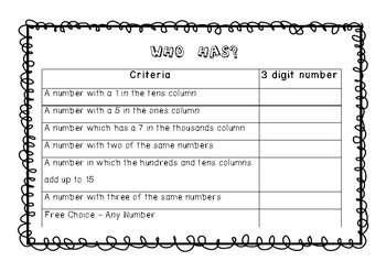 Whole Number Class and Small Group Games