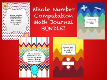 Whole Number Computation Math Journal BUNDLE