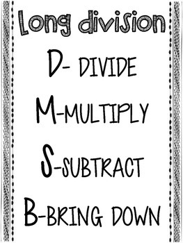 Whole Number Division Anchor Charts