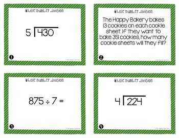 Whole Number Division Task Cards for 5th Grade