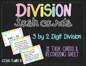 3-Digit by 2-Digit Division Task Cards (5.NBT.6)