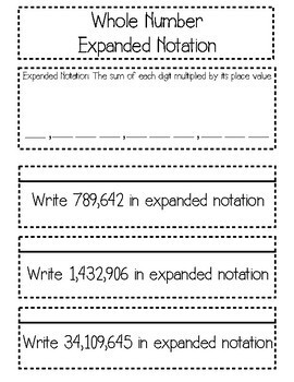 Whole Number Expanded Notation Interactive Notebook & Quick Check TEKS 4.2B