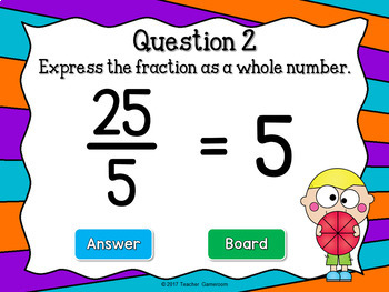 Whole Number Fractions Powerpoint Game
