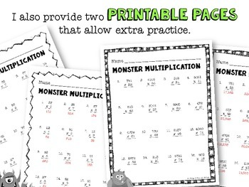 Whole Number Monster Multiplication PowerPoint
