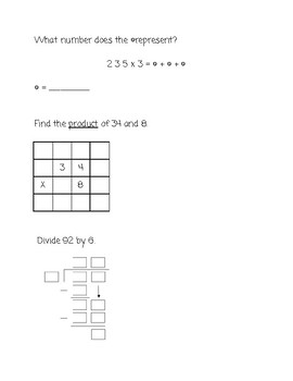 Whole Number Multiplication & Division